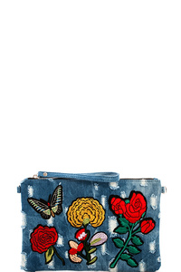 Washing Denim Embroidery Clutch with Chain