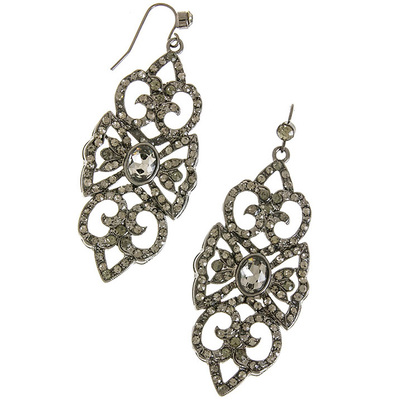 CRYSTAL LINED ELONGATED ORNATE EARRINGS