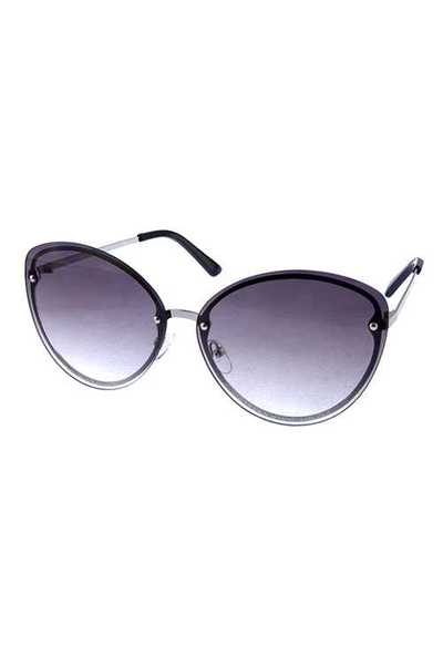 Womens rimless cat eye metal style sunglasses