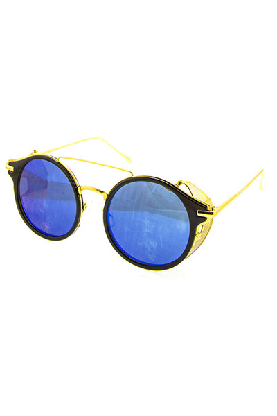 FOLDABLE SIDESHIELD REFLECTIVE ROUND BLENDED SUNGLASSES