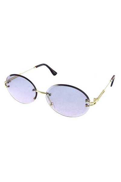 Womens metal rimless oval rounded sunglasses
