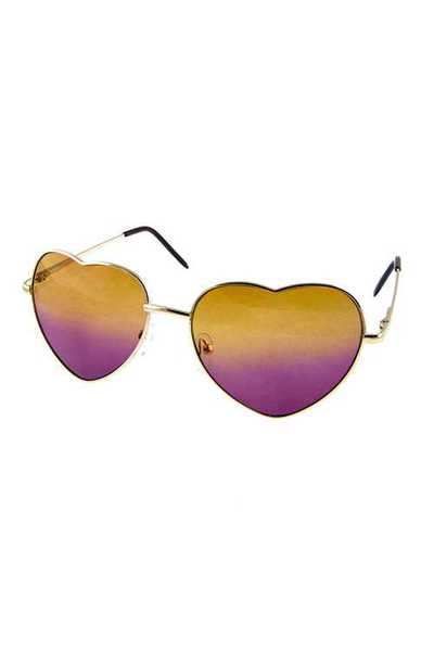Womens heart shaped two toned metal sunglasses