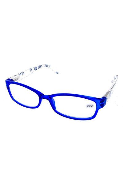 Floral detailed plastic square style reader glasses