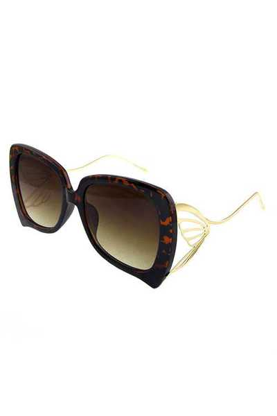 Womens butterfly metal detail square sunglasses