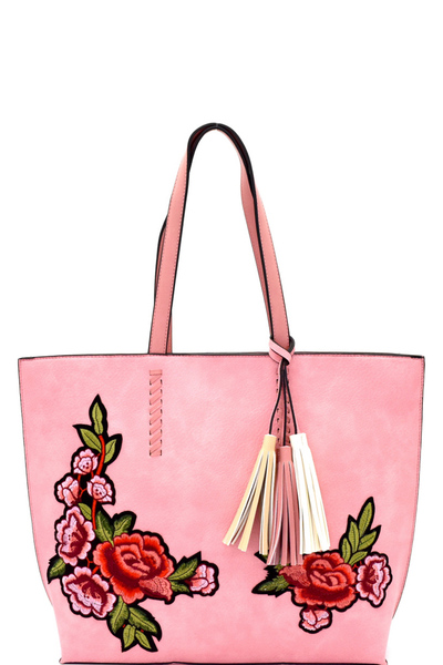 Tassel Accent Flower Embroidery Shopper Tote
