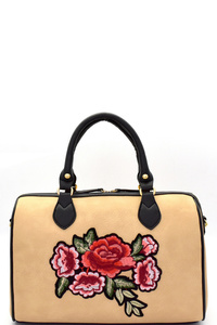 Flower Embroidery Two-Tone Boston Satchel