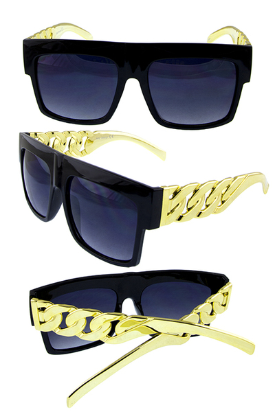 Mens square bold chain plastic retro sunglasses