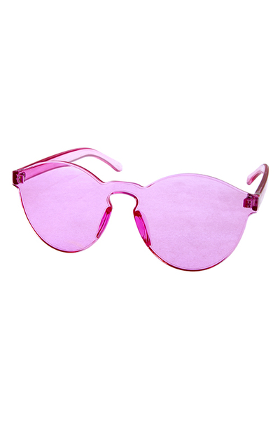 Womens round block plastic lens sunglasses