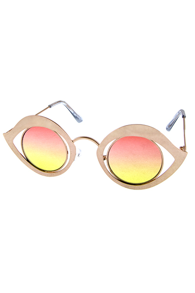 Womens metal circle cutout fashion sunglasses