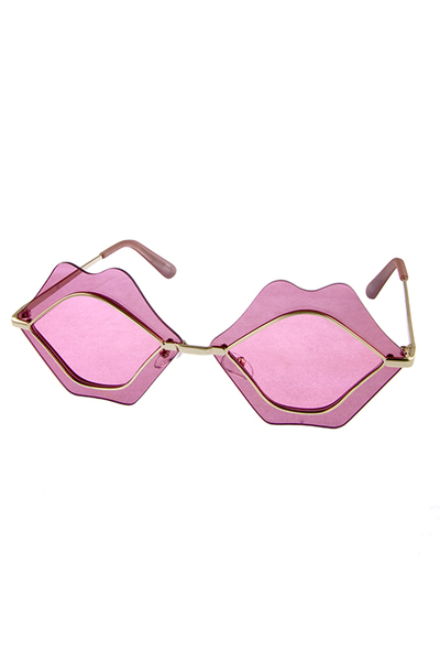 Womens lips kiss metal rimless style sunglasses
