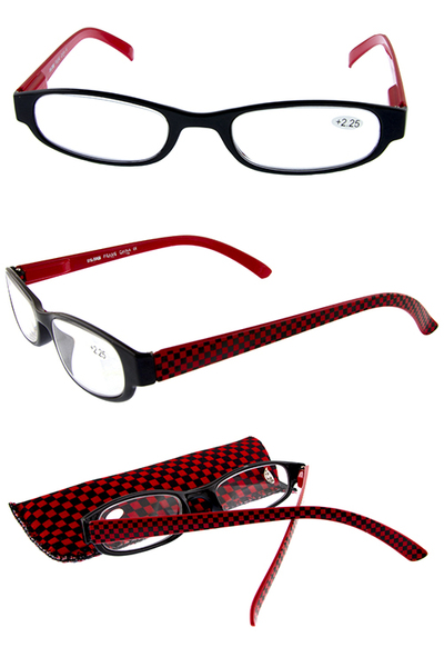 Slim plastic checkered style reading glasses