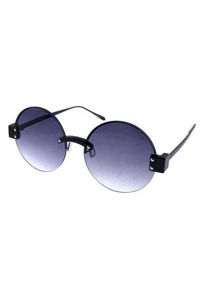 Womens semi rimless metal circle style sunglasses
