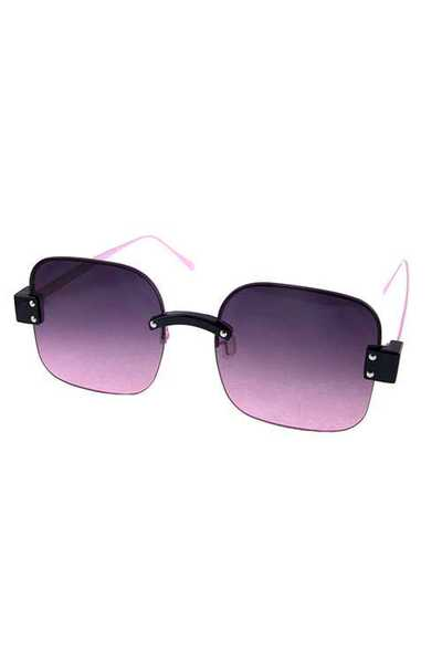 Womens rimless metal square fashion sunglasses
