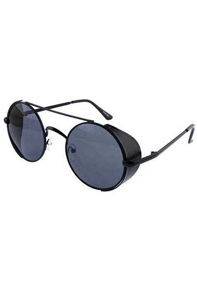 Unisex metal round circle sideshield sunglasses