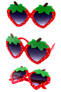 Kids Strawberry Detailed Plastic Cute Sunglasses
