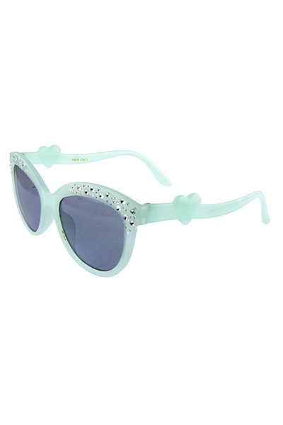 Kids fancy plastic heart arm detailed sunglasses