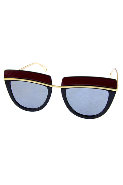 Womens metal trim flat lens fashion sunglasses