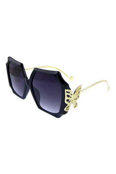 Womens metal butterfly square blended sunglasses