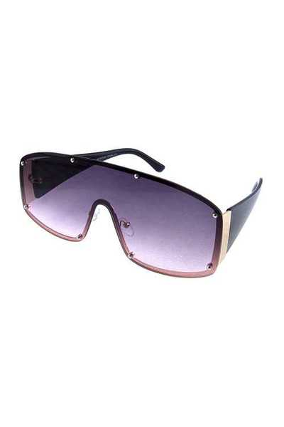 Womens one piece rimless square style sunglasses