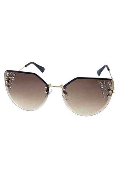 Womens high pointed rimless metal sunglasses