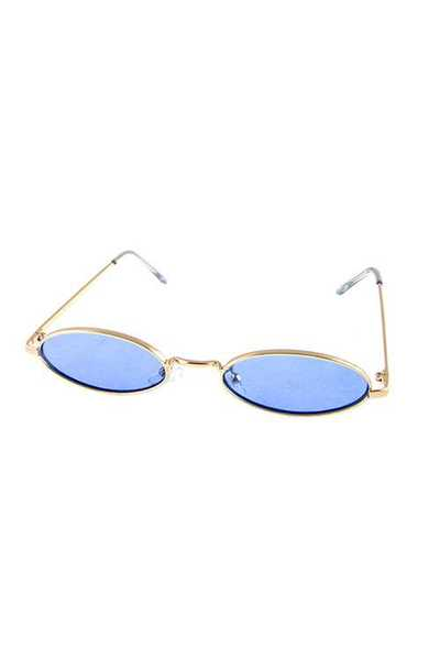 Womens Vintage Rounded Oval Metal Sunglasses
