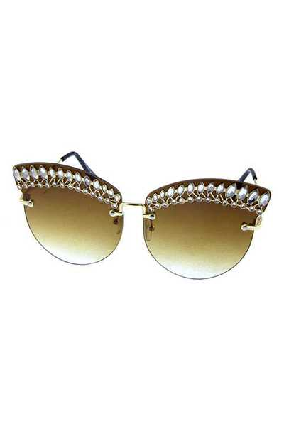 Womens rhinestone rimless butterfly sunglasses