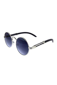 Unisex vintage rounded circle metal sunglasses