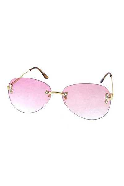 Womens rimless rounded square fashion sunglasses