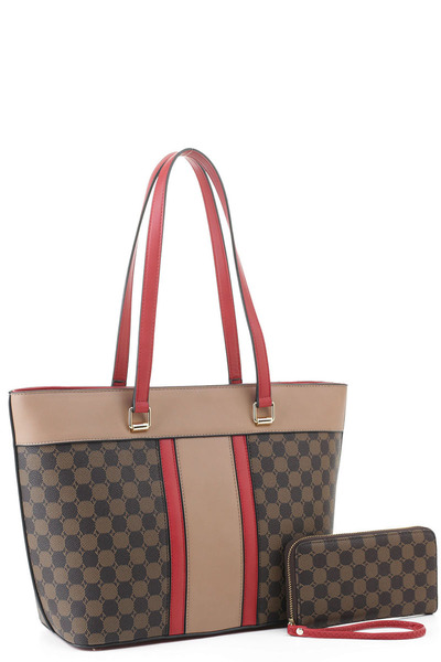 Fashion Monogram Colorblock 2-in-1 Shopper Set