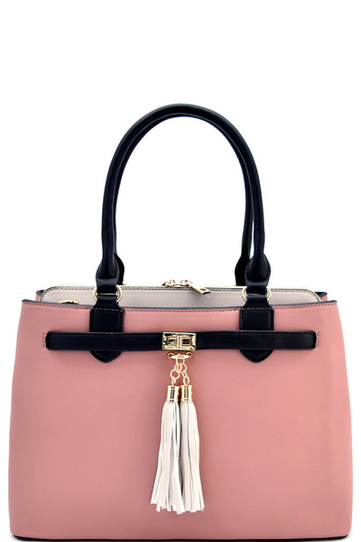 Modern Two Tone Stylish Satchel with Long Strap