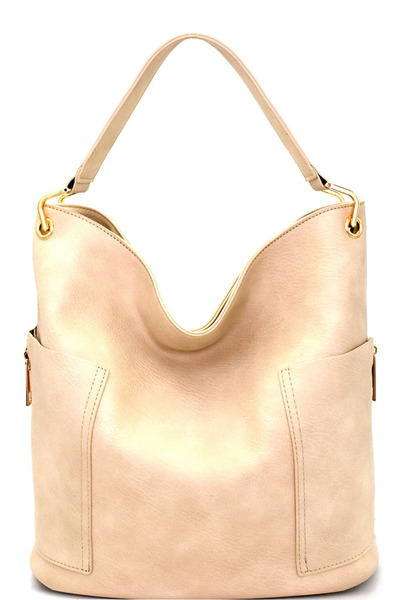 Side Pocket Tall Zipper Accent Strap Hobo
