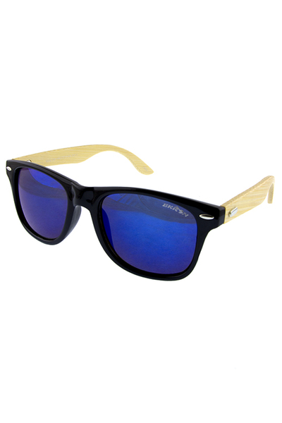 Unisex wooden arm detailed horn rimmed sunglasses