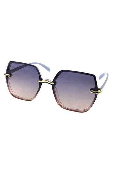 Womens blended square rimless style sunglasses