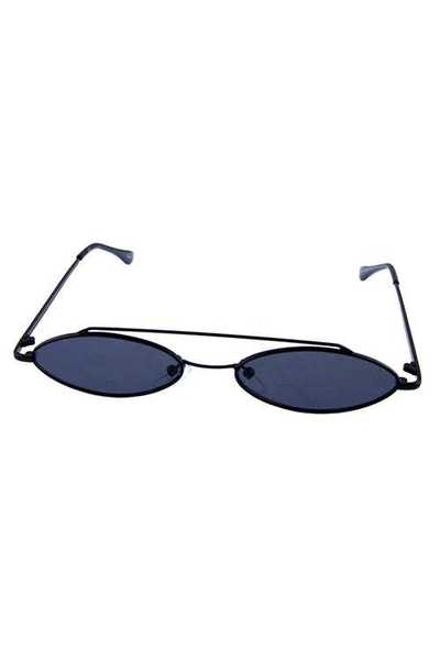 Womens oval rebar metal vintage style sunglasses