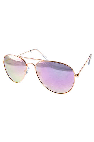 Womens aviator pilot mirror flash lens sunglasses