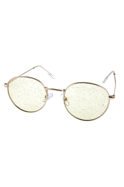 Womens Glitter Color Metal Rounded Sunglasses