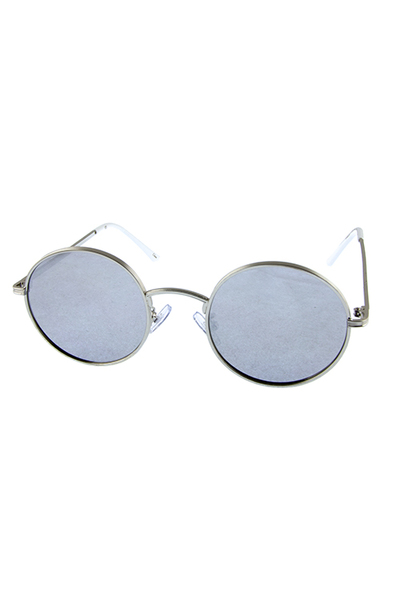 Womens vintage metal trim round circle sunglasses