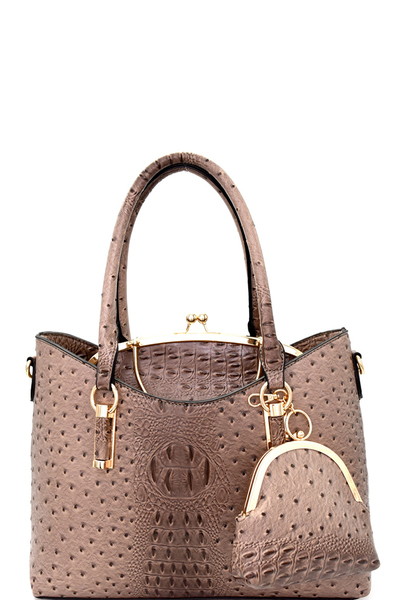 Ostrich Embossed Kiss-lock Frame Satchel 3 in 1 Tote