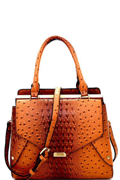 Ostrich Print Embossed Double-Compartment Satchel