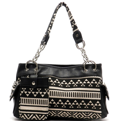 Aztec Printed Canvas Shoulder Bag