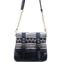 Aztec Printed Canvas Crossbody Bag