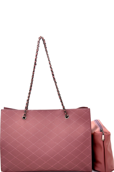 Classy Quilted 2 in 1 Chain Tote Shoulder Bag
