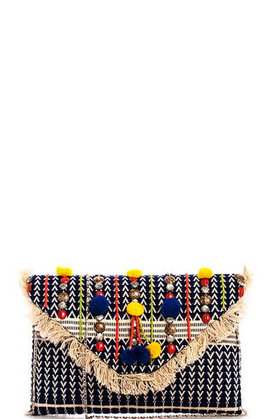 Trendy Bohemian Chic Clutch with Chain