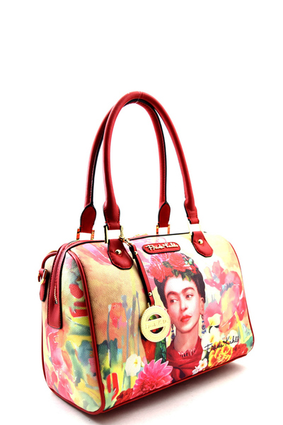Authentic Frida Kahlo with Parrot in Flowers Boston Satchel