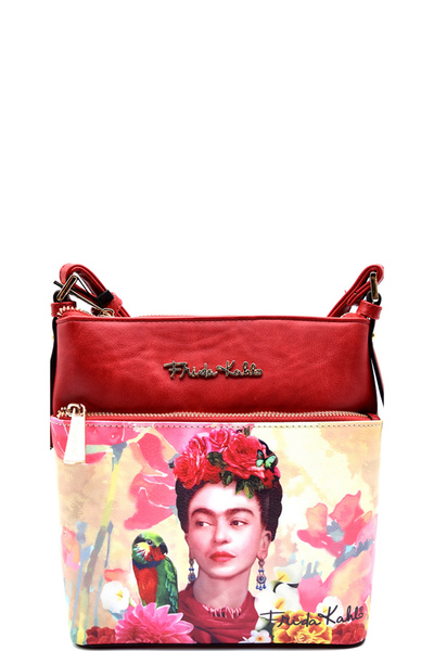 Authentic Frida Kahlo with Parrot in Flowers Crossbody Messenger
