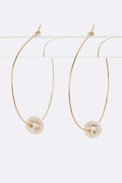Culture Pearl Slider Skinny Hoop Earrings