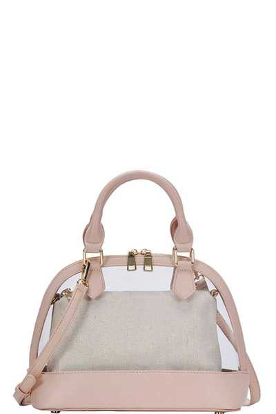 2IN1 CUTE TRANSPARENT DOMED SATCHEL WITH LONG STRAP