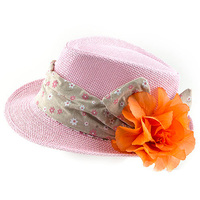 FLORAL PRINT HEAD BAND AND FLORAL ACCENT SUMMER FEDORA