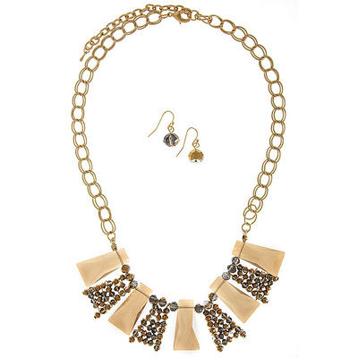 TRANSLUCENT FAUX JEWEL BIB NECKLACE SET