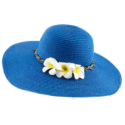 HAWAIIAN PLUMERIA FLORAL ACCENT SOLID COLOR WOVEN FLOPPY HAT